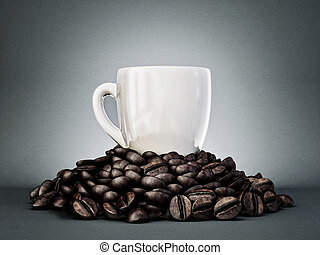 coffee beans concept  on a grey background