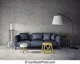 3d interior room with dark sofa and glass bottles