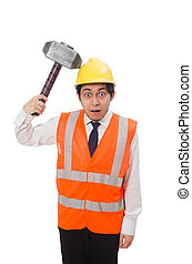 Construction worker with hammer isolated on white