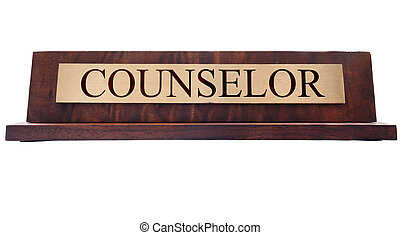 Counselor name plate - Counselor wooden nameplate isolated...
