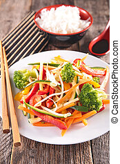 fried vegetable, asian cuisine