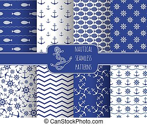 Set of 8 seamless nautical patterns with anchors, ship...