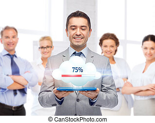 happy businessman with tablet pc transferring data -...