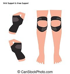 Wrist Support and Knee Support on White Background - Medical...