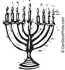 Hanukkah Menorah - A Hanukkah Menorah for the holidays in a...