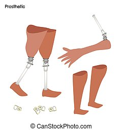 Set of Prosthetic Leg, Knee and Arm - Medical Concept,...