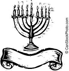 Hanukkah Menorah with Banner