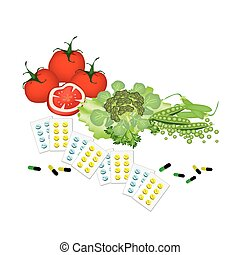Vegetables and Vitamine Capsules on White Background -...