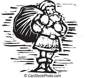 Woodcut Santa