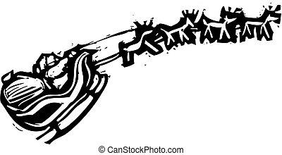 Woodcut Santa Sleigh - Santa\'s sleigh with reindeer flying...