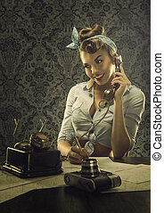 Vintage style - Woman talking on the phone with retro dial...