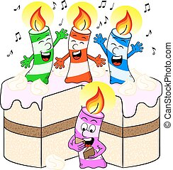 candles on cake celebrate birthday - vector illustration of...