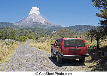 Road to an active volcano - Road to the Volcan de Colima or...