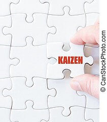 Last puzzle piece with word KAIZEN Business and productivity...