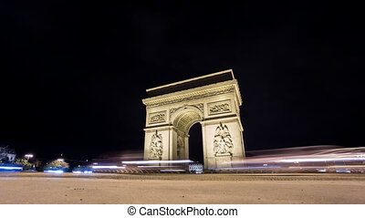 Time Lapse of Arc de Triomphe at night in Paris - Wide angle...