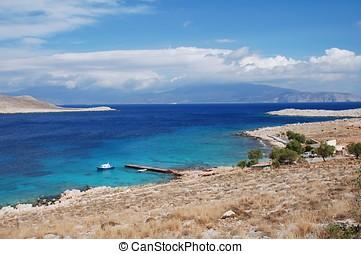 Ftenagia beach, Halki - Looking down on Ftenagia beach at...