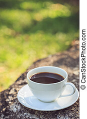 White coffee cup in the park - Close up white coffee cup in...