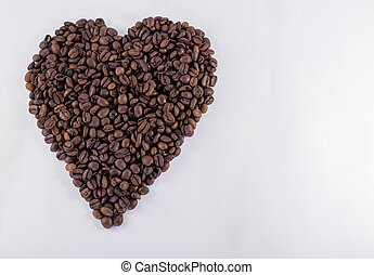 Heart Shaped Coffee Bean With Copy Space - Sinle heart shape...