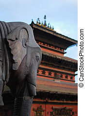 ancient elephant sculpture of durbar square,nepal