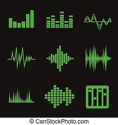Vector music soundwave icon set on black background - Vector...
