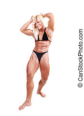 Bodybuilding woman - A strong blond woman in an black...