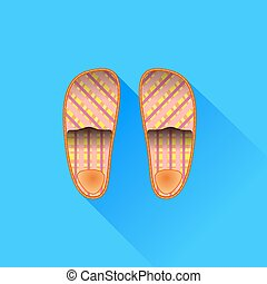 Slippers Isolated on Blue Background. Long Shadow.