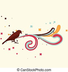 retro bird design - vector retro bird design illustration
