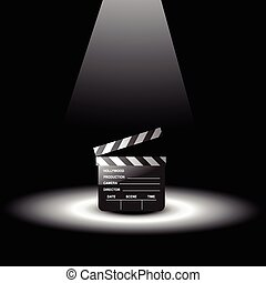 vector clapperboard with light focus on it