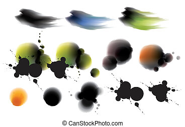 inkblot - illustration drawing of some beautiful colourful...