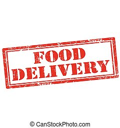 Food Delivery - Grunge rubber stamp with text Food...