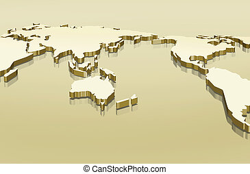 world map - drawing of 3d of world map in a yellow...