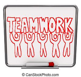 trabajo en equipo, seco, borrar, tabla, equipo, miembros