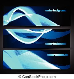 vector blue abstract banner set 1