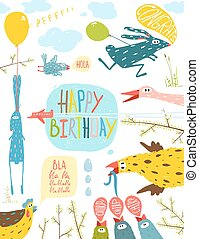 Brightly Colored Fun Cartoon Animals Happy Birthday Greeting...