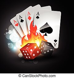 playing card and dices - vector playing card with burning...
