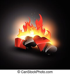 casino element on burning background design