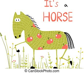 Childish Colorful Fun Cartoon Horse in Grass Field - Funny...