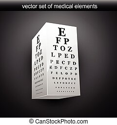 eye chart - vector eye chart illustration in 3d