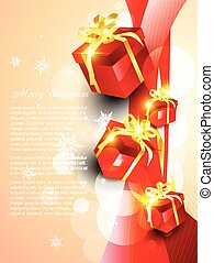 vector giftbox with wave background