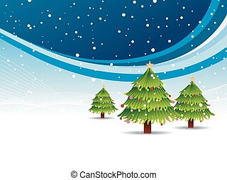 Christmas tree in snowy background