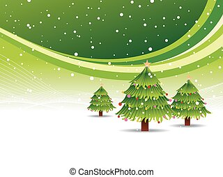 Christmas tree in snowy green background