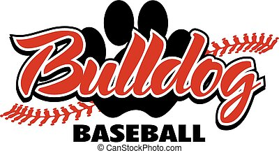 bulldog baseball design with red stitches and paw print