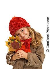 otoño, hojas, poco, niña, tenencia