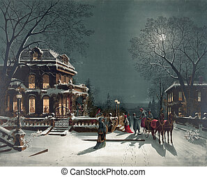 Winter Scene - Vintage painting of a winter scene in America...
