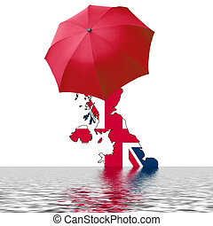 UK flood - Map of the UK with umbrella and water symbolising...