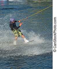 wakeboarding - Young man wakeboarding on the lake