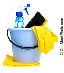 Cleaning concept - Plastic bucket with cleaning supplies on...