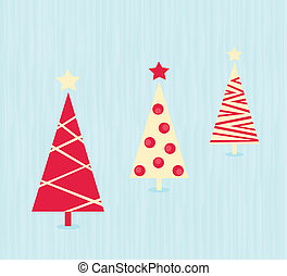 Vintage red christmas trees pattern - Modern christmas trees...