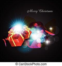 vector christmas box - vector colorful christmas box on dark...
