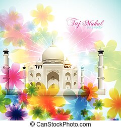 vector taj mahal - beautiful vector taj mahal on artistic...